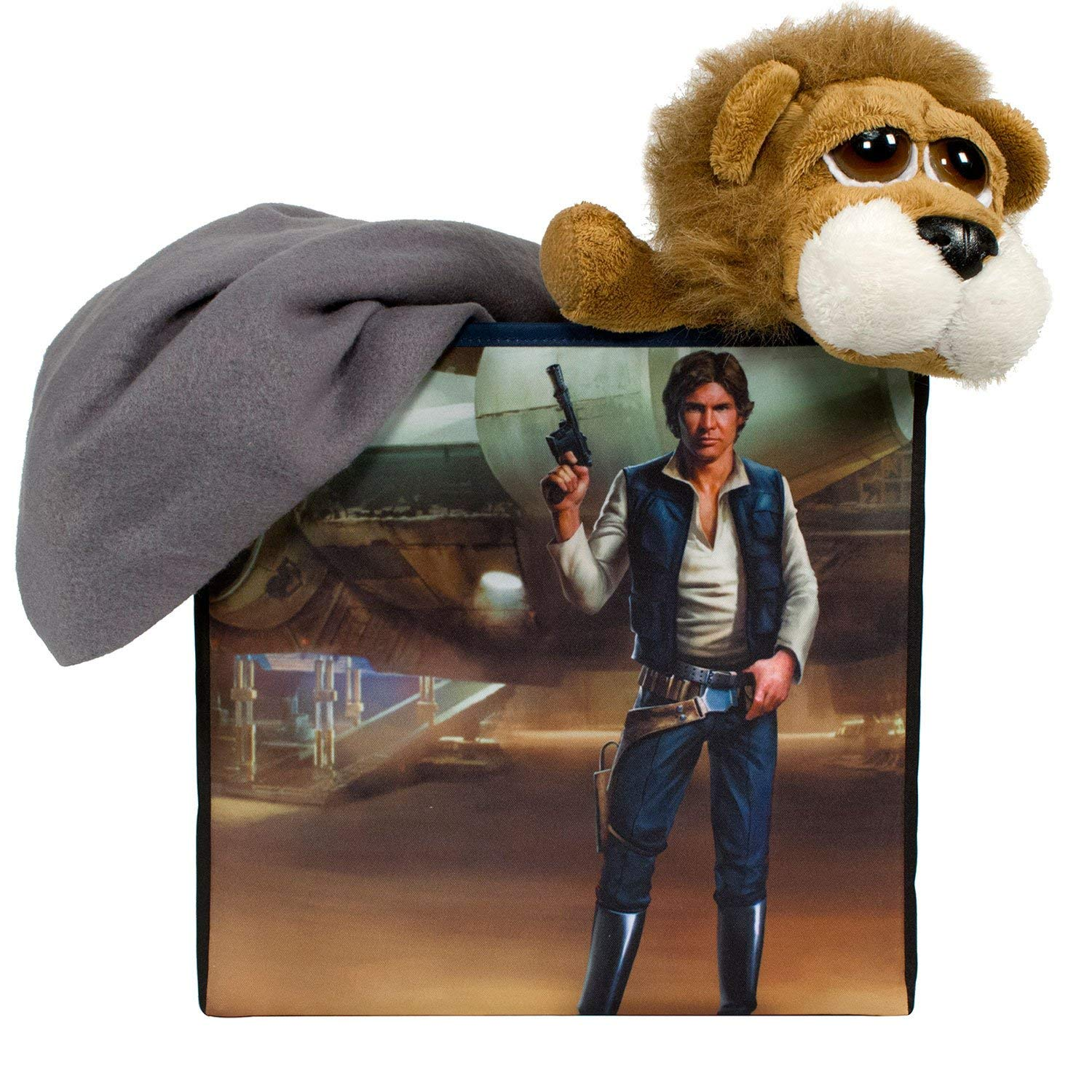 Star Wars Han Solo Collapsible Storage Bin by Disney - Cube Organizer for Closet, Kids Bedroom Box, Playroom Chest - Foldable Home Decor Basket Container with Strong Handles and Design