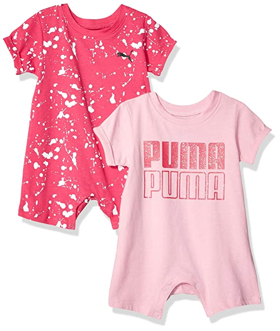 1970d70e5aca3 Amazon.com: PUMA Baby Girls' 2 Pack Romper Set: Clothing