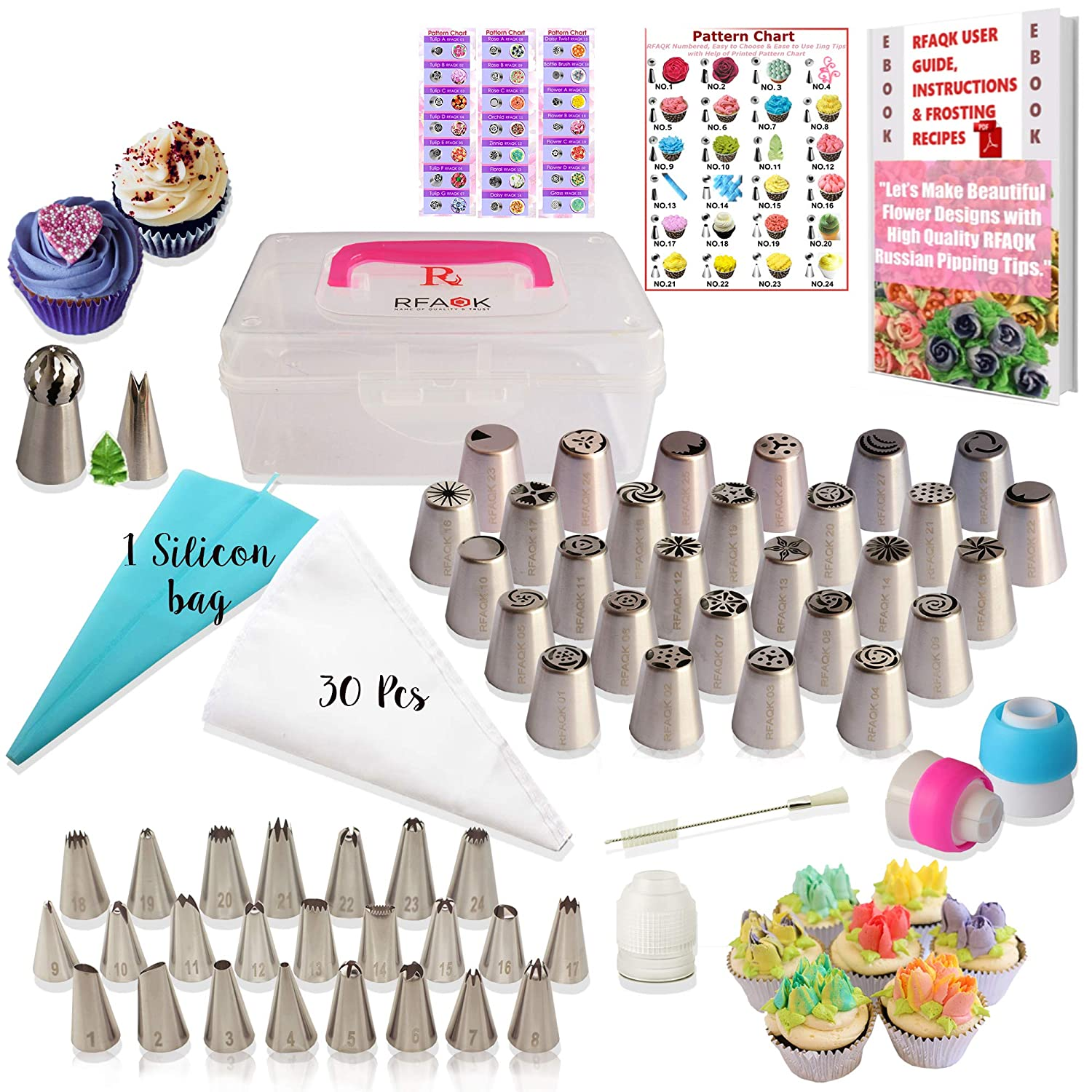 RFAQK- 90 Pcs Russian piping tips set with storage case – Cake decorating supplies kit – 54 Numbered easy to use icing nozzles (28 Russian + 25 Icing + 1 Ball tip) – Pattern chart, Ebook User Guide R-10