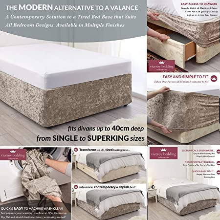 viceroy bedding BED WRAP Crushed Velvet Divan Bed Base COVER Alternative to Valance Sheet Skirt Elasticated Easy To Fit Wraps Itself Around The Base