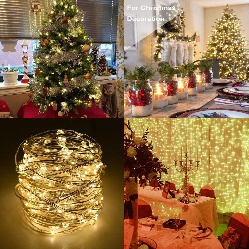BXROIU 2 x String Lights Battery Operated, Silver Wire Chains 8 Mode 5M 50 LEDs Timer Fairy Lights with Remote Control for Bedroom Christmas Party Wedding Decoration (Warm White)