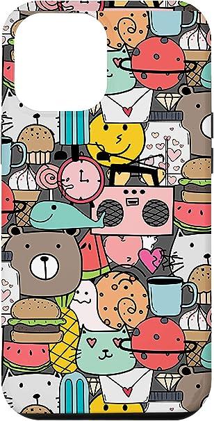 Amazon Com Iphone 12 Pro Max Cool Trippy Doodle Cartoon Snale Burger Cat Hearts Case