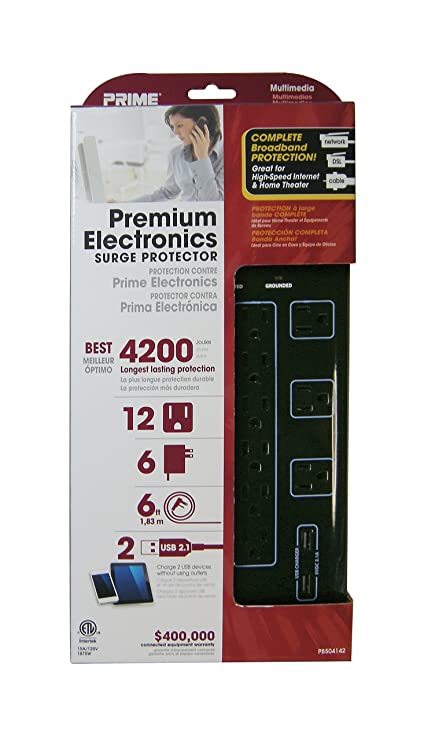 Prime Wire & Cable PB504142 12-Outlet Premium Electronics with 14-3 ...