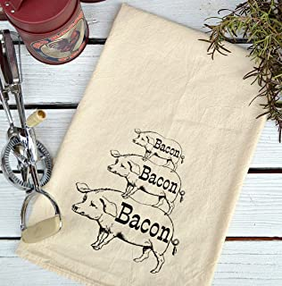 Delicieux Farmhouse Natural Flour Sack Bacon Pig Stack Country Kitchen Towel