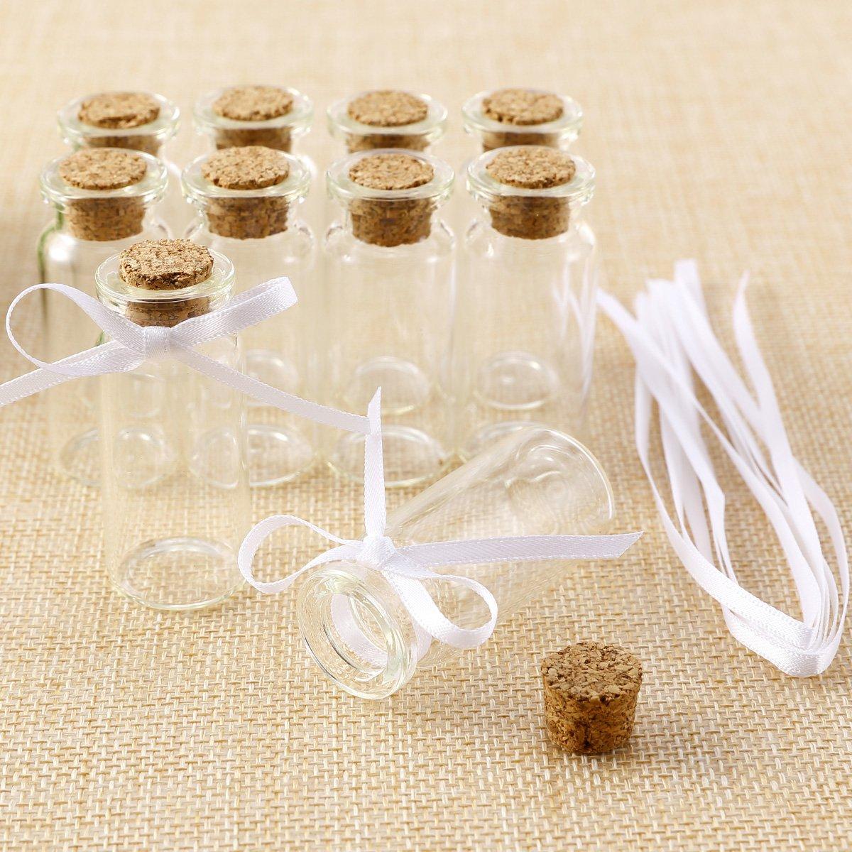 Anladia - Lote de 10 frascos de cristal para gominolas (con tapón y cinta): Amazon.es: Hogar