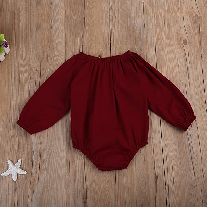 ded5acb4fa7 Amazon.com  Imcute Dark Red Baby Girls Clothes Long Sleeve Lace Romper  Jumpsuit Outfit (6-12 Months