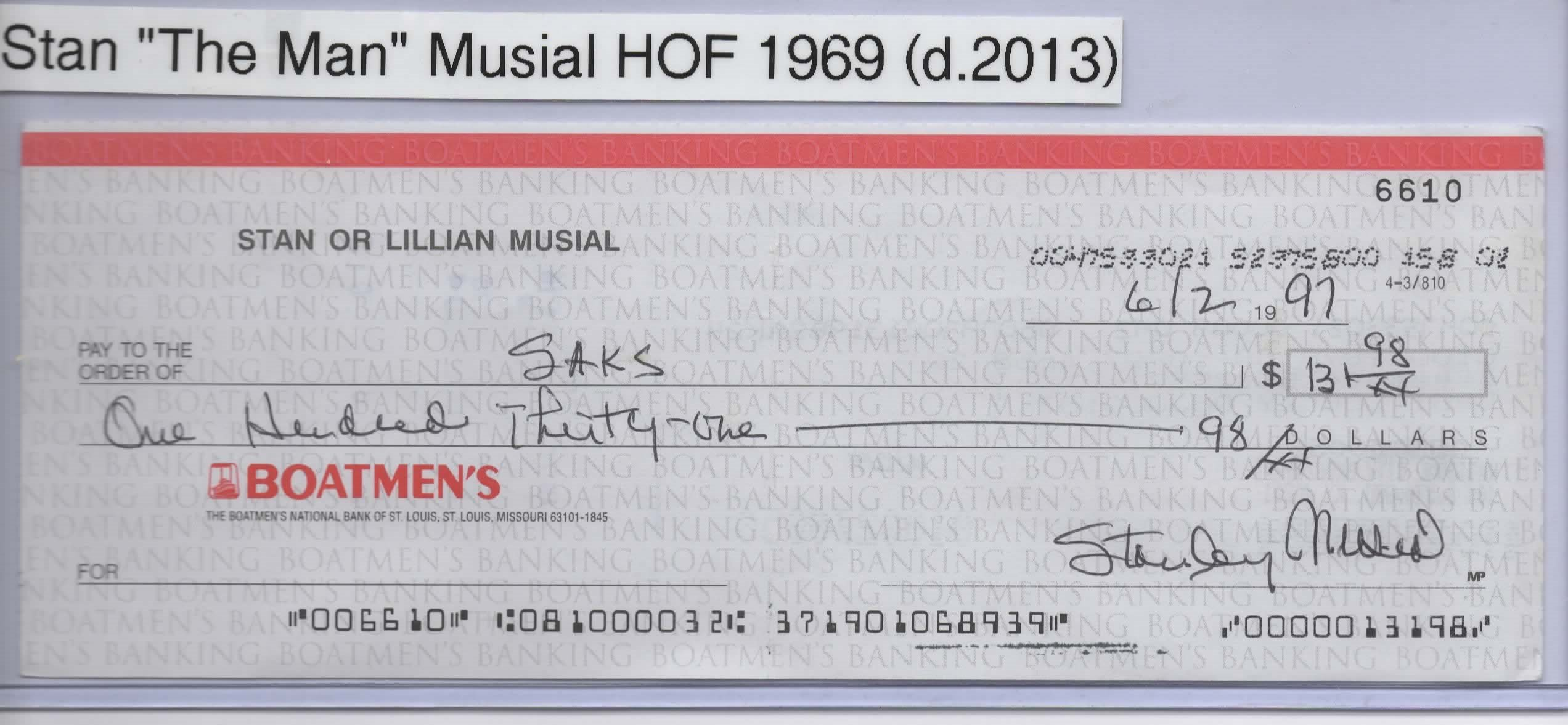 STAN MUSIAL PERSONAL CHECK #6610 ST. LOUIS CARDINALS HOF