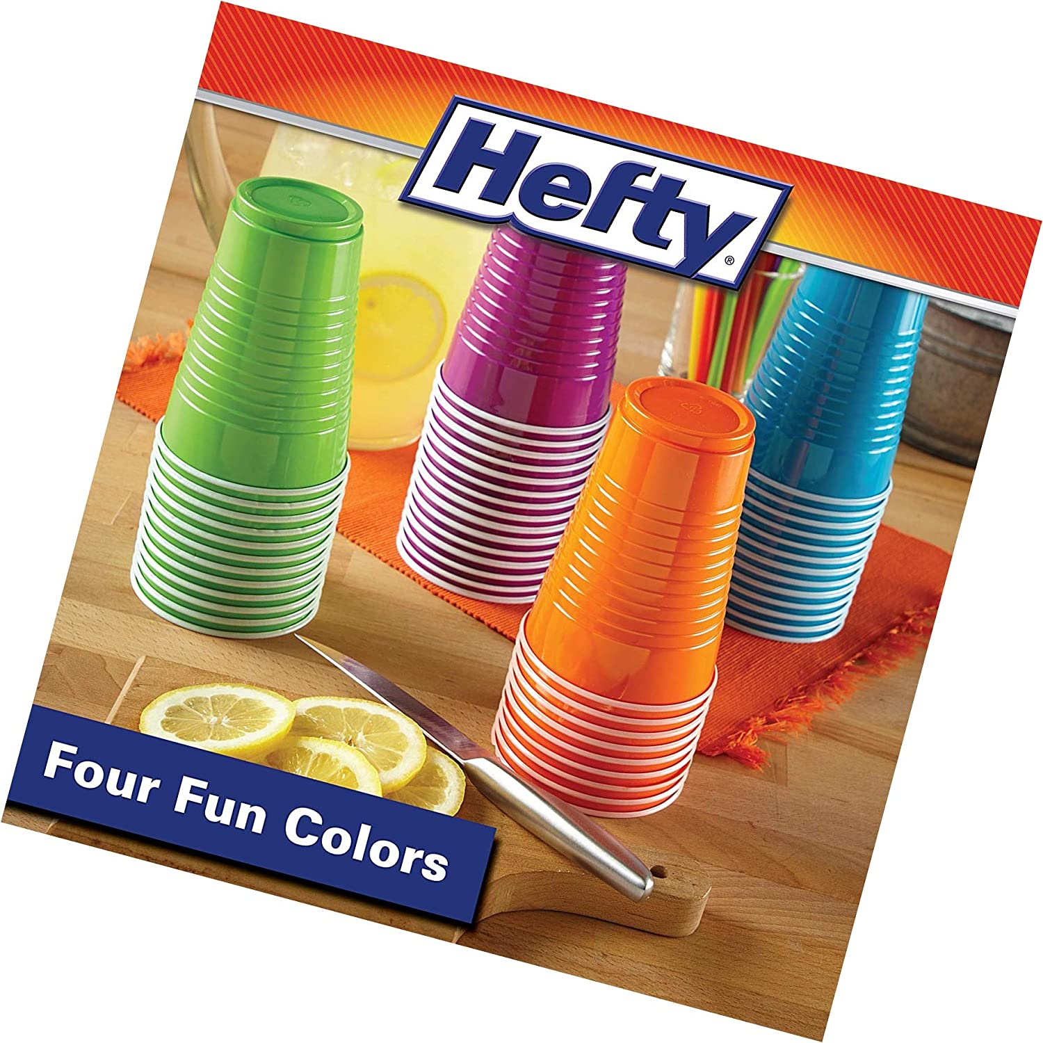 Hefty Disposable Plastic Cups in Assorted Colors - 16 Oz, 100Count, New Version