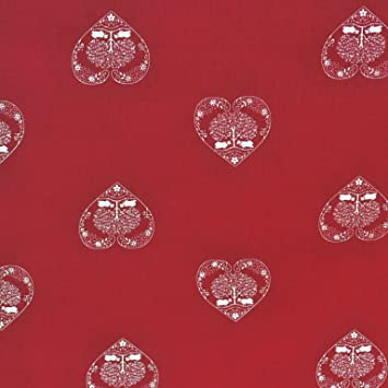 Curtains Ideas christmas curtain fabric : Authentic French Christmas Alpine Hearts Fabric | Red with Ecru ...
