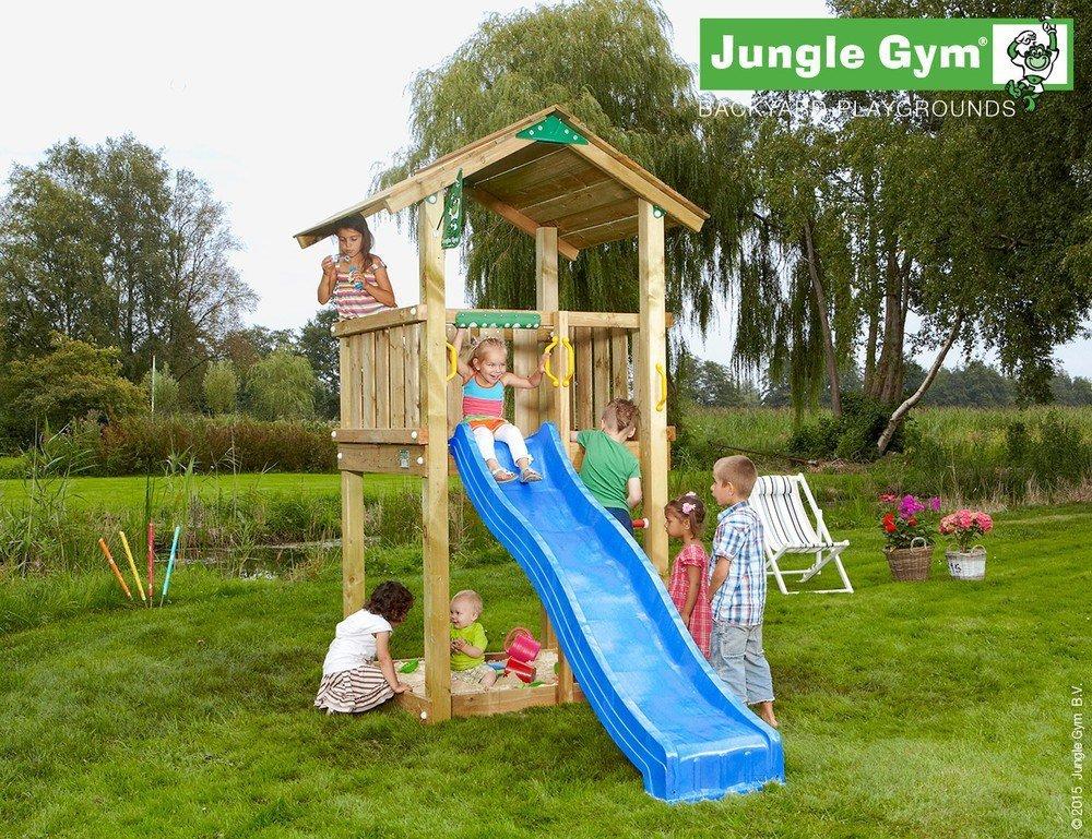 Spielturm Jungle Casa Set mit 2,4 m Rutsche Sandkasten Kletterturm - Jungle Gym (inkl. Holzpaket)