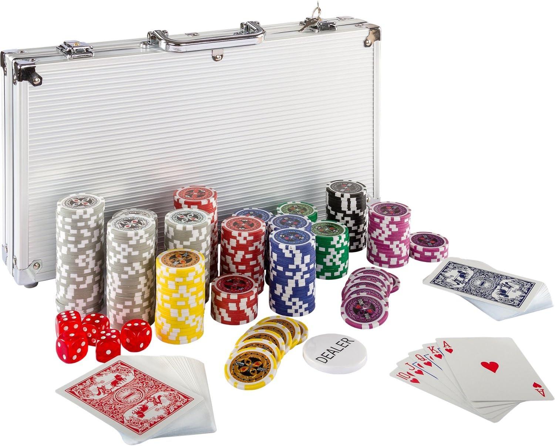 Maxstore Ultimate Pokerset con 300 Chips láser 12 Gramos núcleo de Metal , Incluyendo póker, Set, fichas de póquer, Maletas, Juego de Póquercon