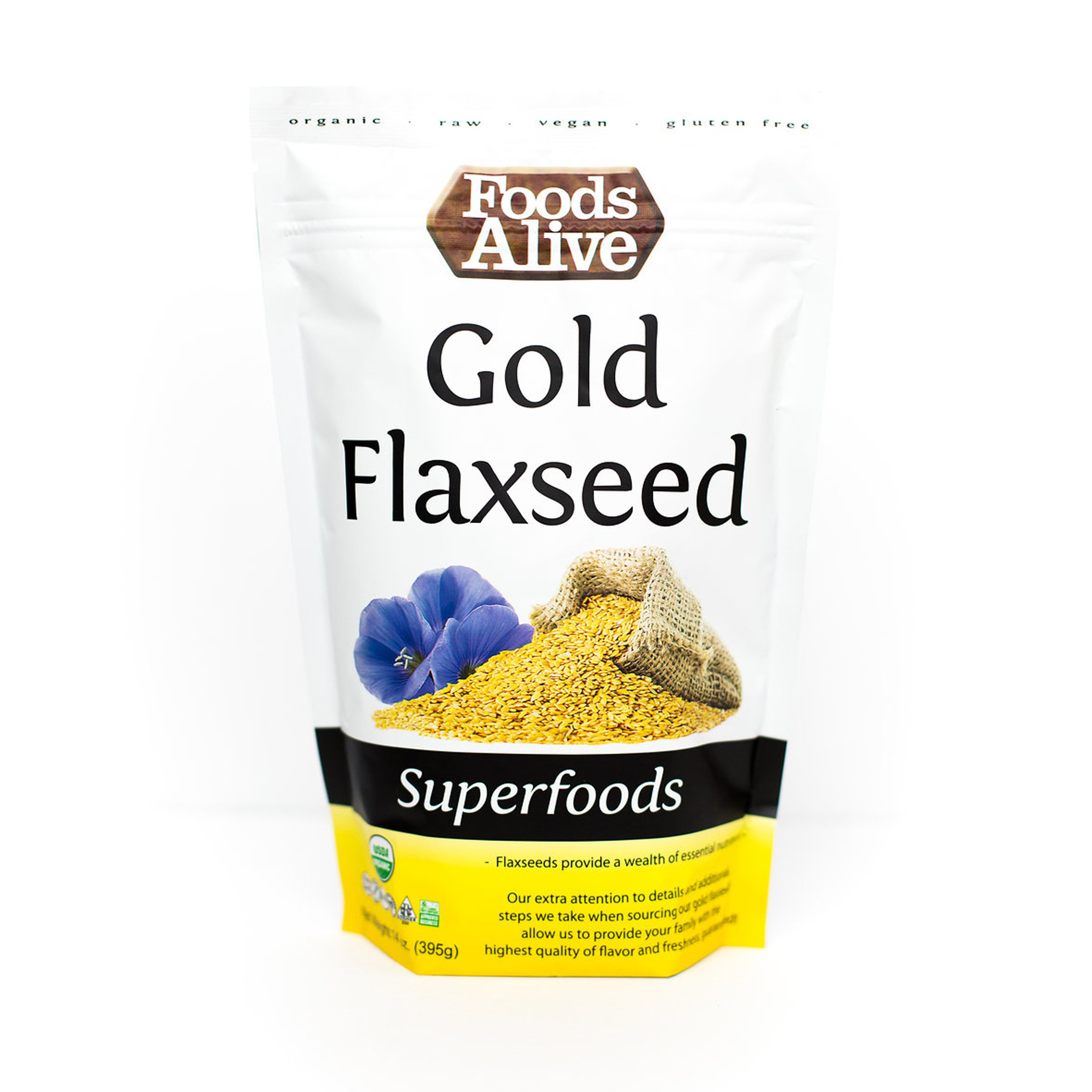Foods Alive Organic Gold Flax seed, 14-Ounce Pouches (Pack of 3)