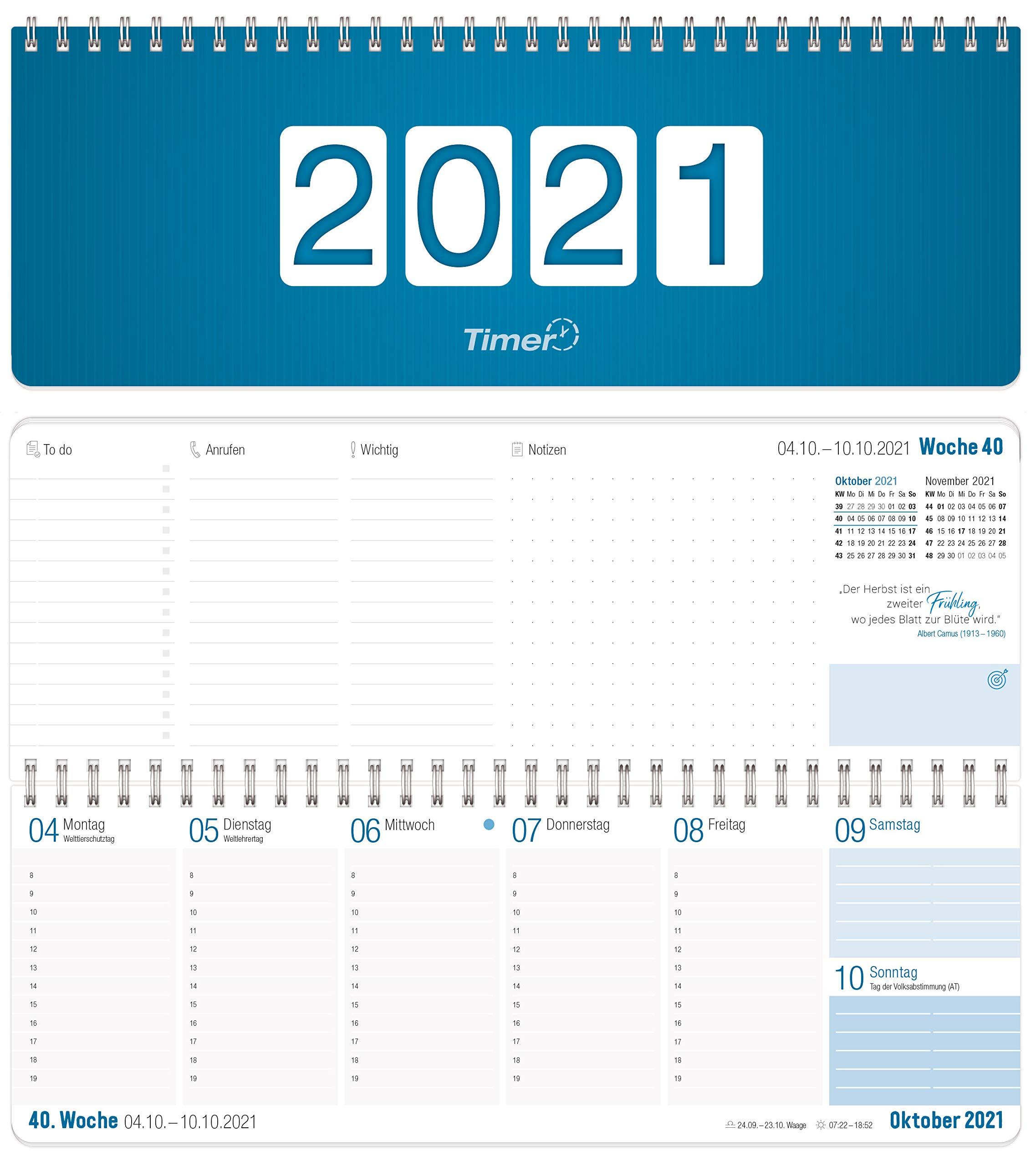 32 Blatt Schreibtischquerkalender 2021 4x Schreibtisch Kalender