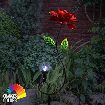 Exhart Red Rose Wind Spinner Garden Stake w/Solar Crackle Ball - Rose Garden Spinner Metal Stake, Features Solar-Powered Glass Ball LED Lights - Best as Kinetic Art Flower Decor, 12 x 44 Inches : Garden & Outdoor