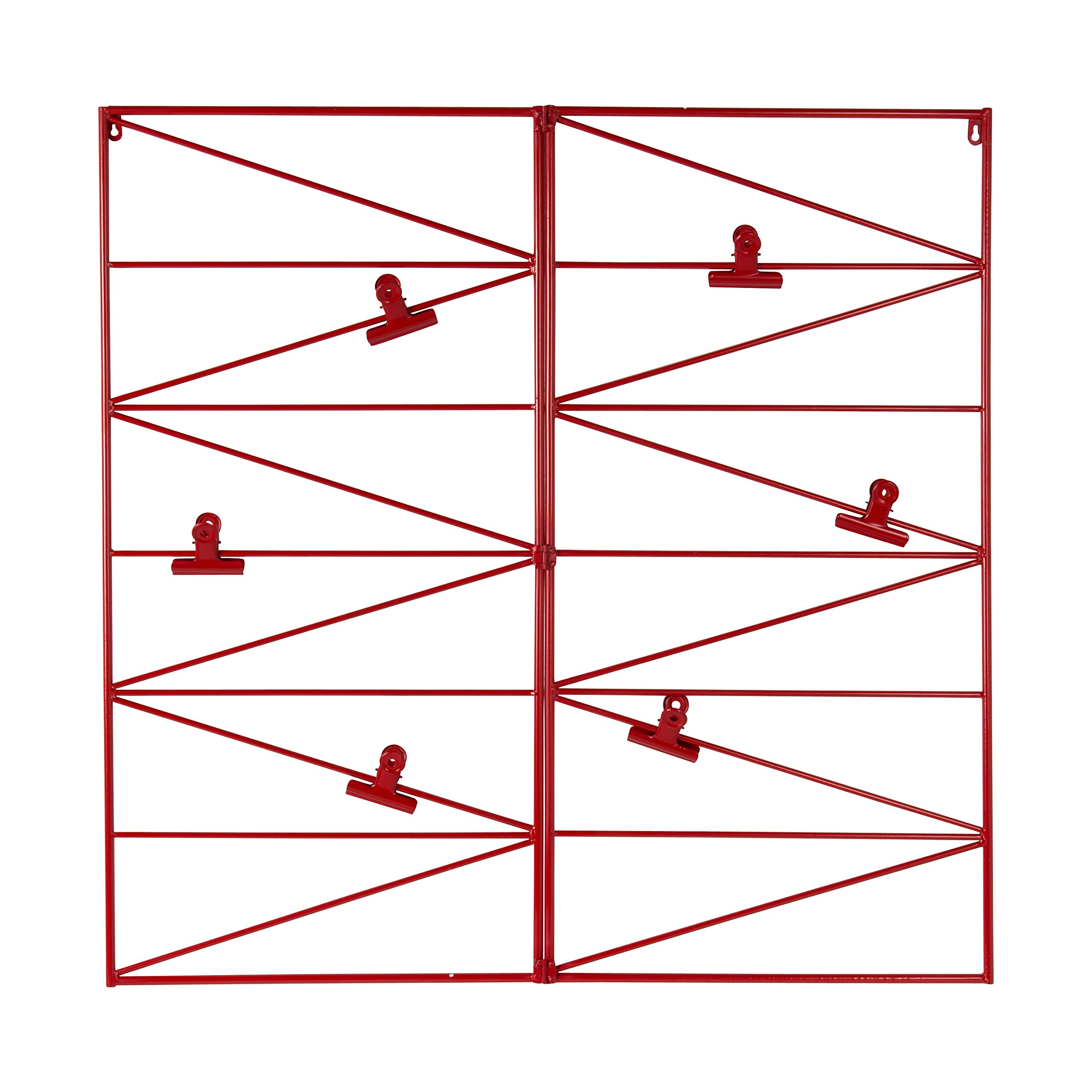 Kate and Laurel Whitt Wire and Clips Metal Geometric Wall Organizer, Red