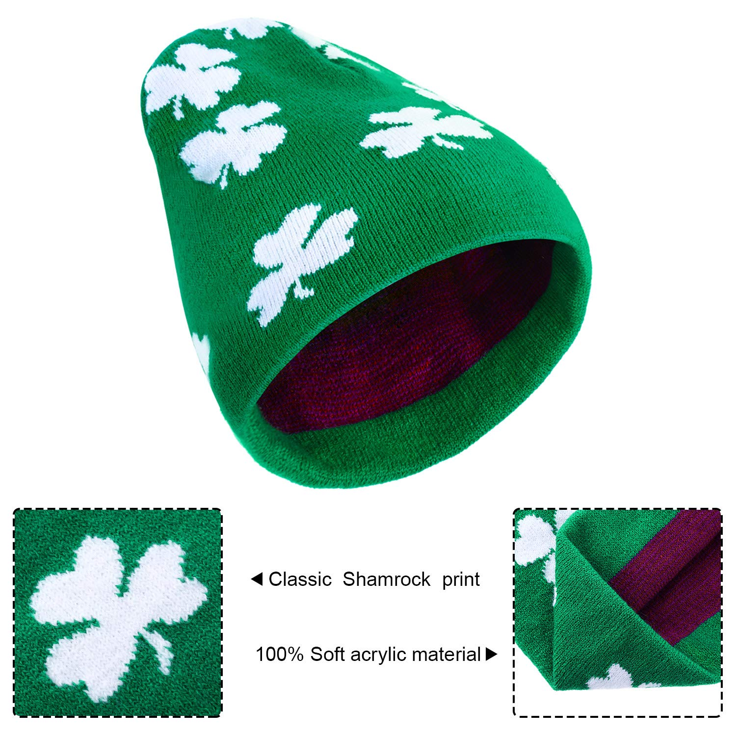 6ae69ca091daa8 Chuangdi 6 Pieces St Patrick's Day Hats Unisex Shamrock Beanie Knit ...
