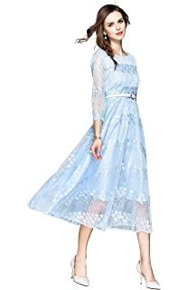 2b0210db83c LAI MENG FIVE CATS Women s Retro 3 4 Sleeves Elegant Floral Lace Cocktail  Party Swing