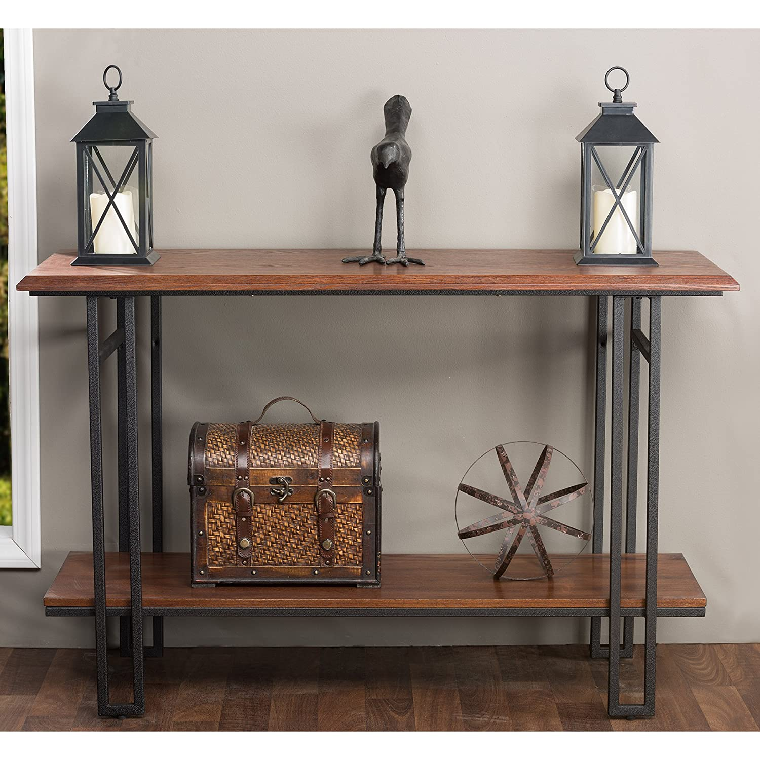 Amazon.com: Baxton Studio Newcastle Wood And Metal Console Table, Brown:  Kitchen U0026 Dining
