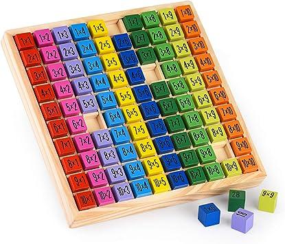Colmanda Tabla de Multiplicación, Juego Tablas de Multiplicar Tablas Multiplicar Juegos Matematicos, 10 * 10 ábaco de Madera Matemáticas Educativos Juguetes para Niños Juguetes: Amazon.es: Juguetes y juegos