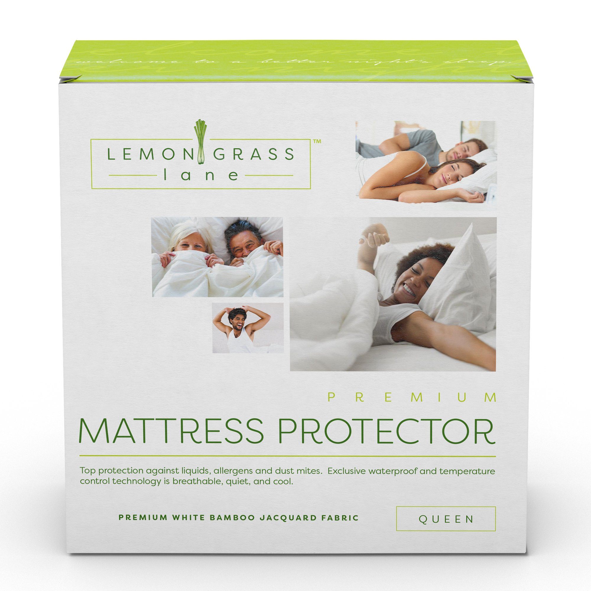 Bamboo Hypoallergenic Mattress Pad Protector Cover by Lemongrass Lane - Waterproof Breathable Cooling Topper, Vinyl Free - Queen Size