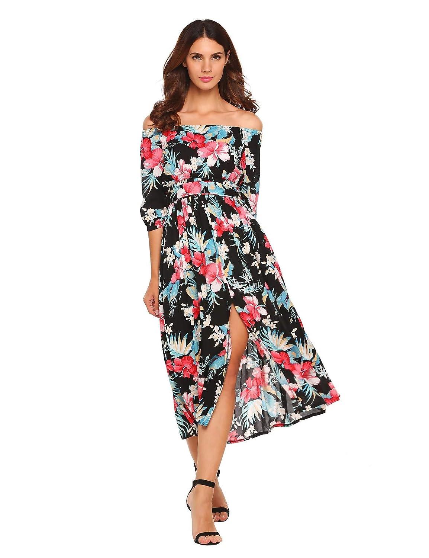 33b9eb46d63 Amazon.com  Zeagoo Women Floral Romper Maxi Dress Cold Shoulder Beach Dress  Overlay Boho Jumpsuit  Clothing
