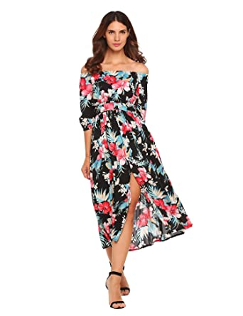 33b9eb46d63 Amazon.com  Zeagoo Women Floral Romper Maxi Dress Cold Shoulder Beach Dress  Overlay Boho Jumpsuit  Clothing