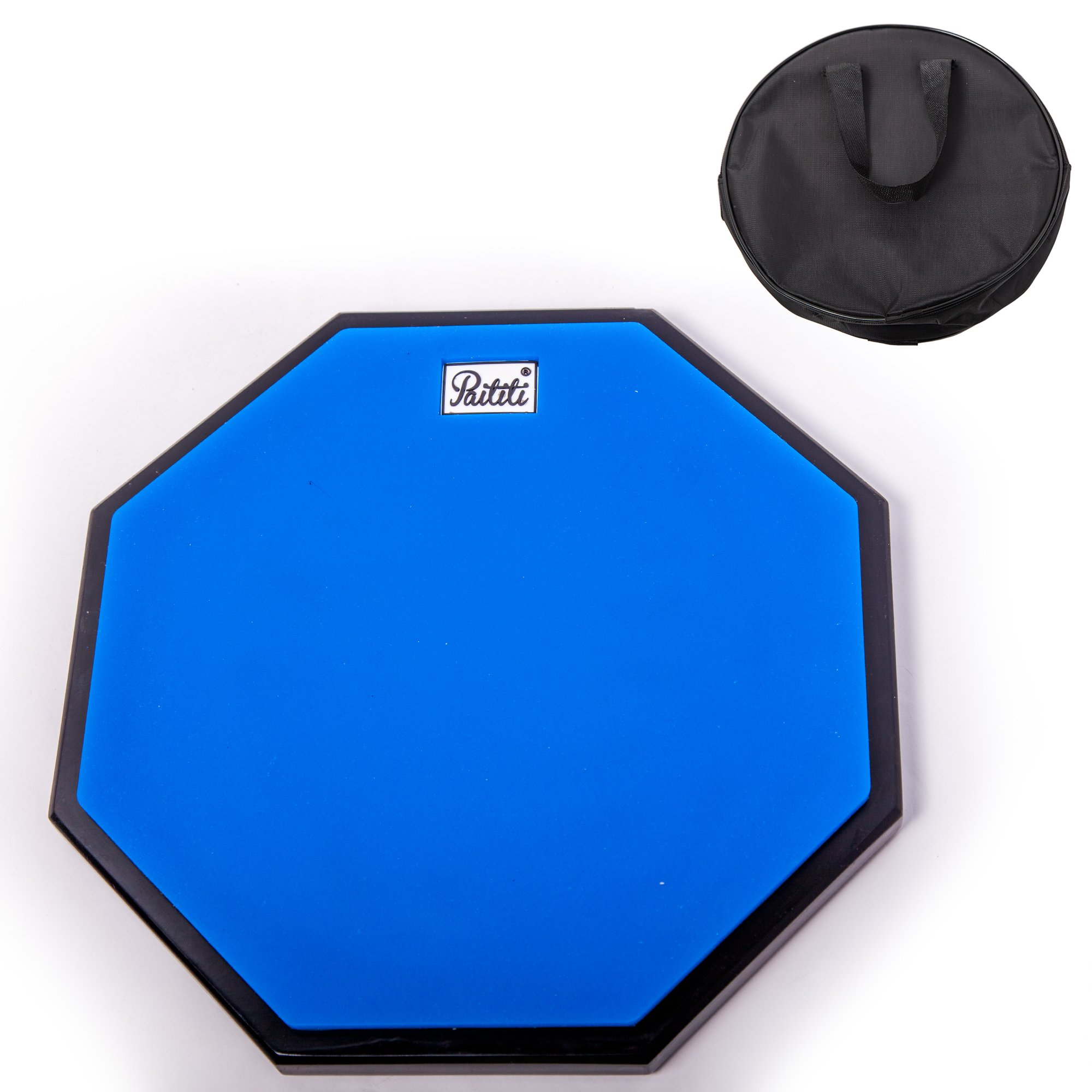PAITITI 10 Inch Silent Portable Practice Drum Pad Octagonal Shape with Carrying Bag Blue Color by Paititi