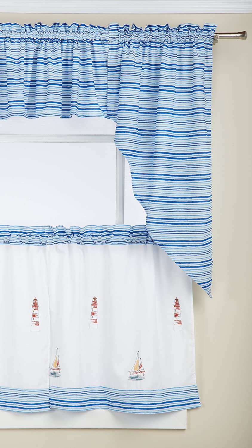 Blue Lorraine Home Fashions Home 00719-36-00003 LORRAINE HOME FASHIONS Annapolis Tier 56 by 36-Inch