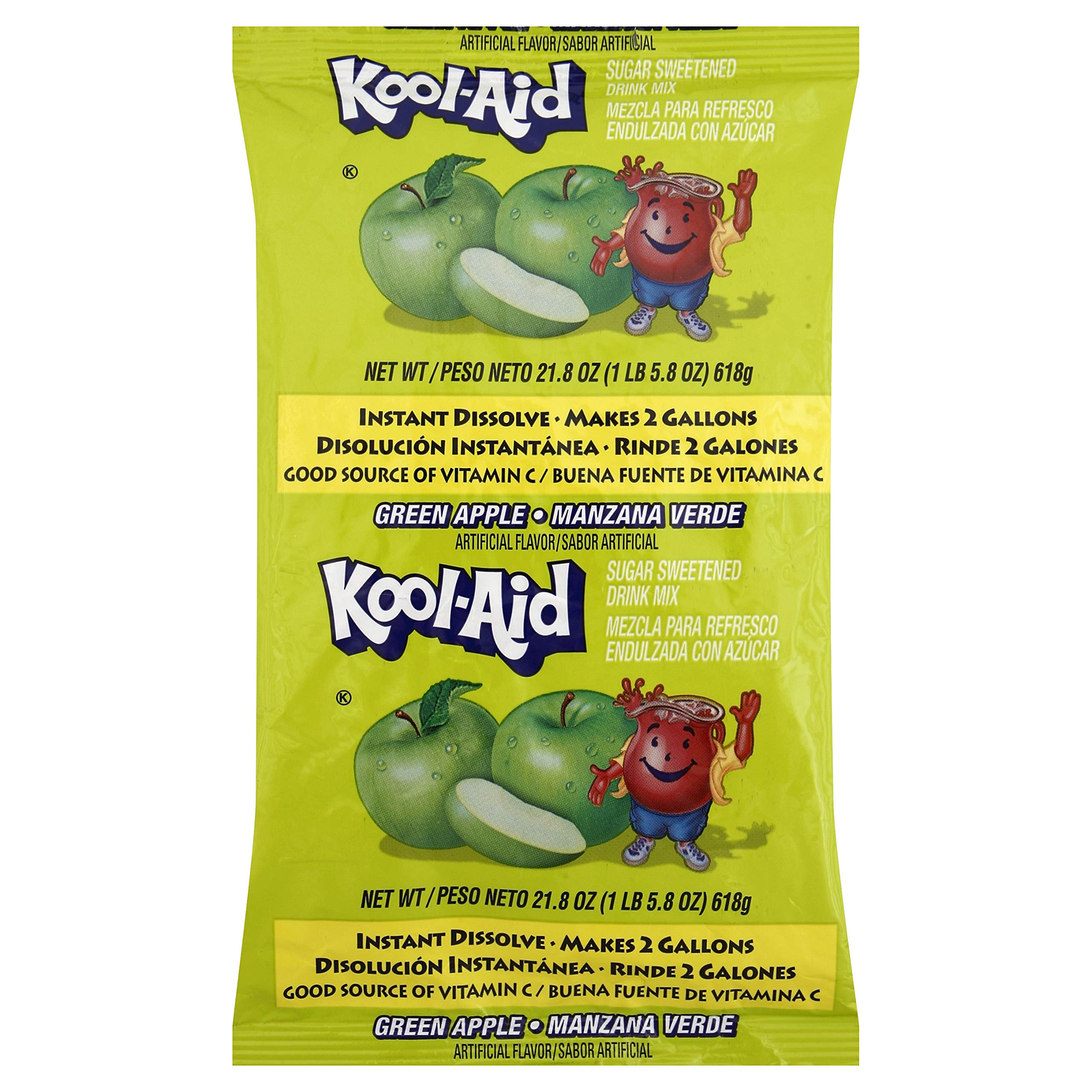 Kool Aid Green Apple Drink Mix (21.8 oz Packet, Pack of 5) by Kool-Aid