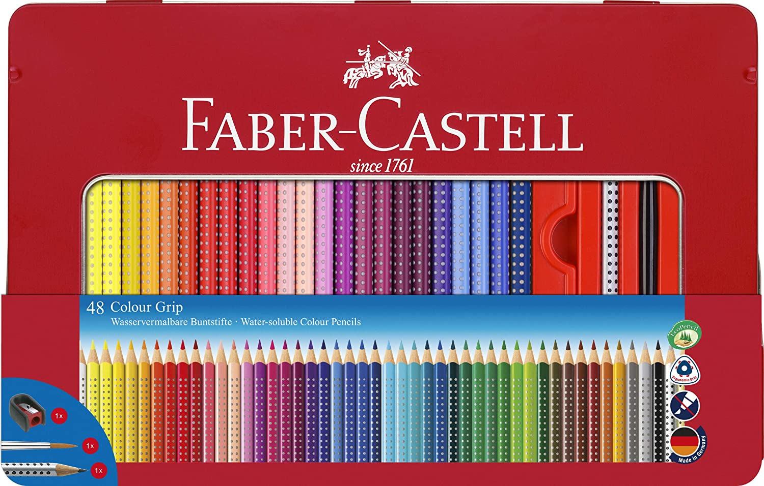 Faber-Castell 112448 - Estuche de metal con 48 ecolápices de color Grip, lápiz de grafito Grip 2001, pincel y afilalápices, multicolor: Amazon.es: Oficina y papelería