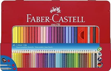 Faber-Castell 112448 - Estuche de metal con 48 ecolápices de color Grip, lápiz de grafito Grip 2001, pincel y afilalápices, multicolor