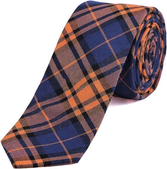 giallo blu scuro DonDon cravatta di cotone stretta a quadri da uomo 6 cm