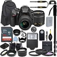Nikon D3400 24.2 MP DSLR Camera (Black) Premium Kit with AF-P DX NIKKOR 18-55mm f/3.5-5.6G VR Lens + 32GB Memory + Filters + Macros + Deluxe BackPack + Professional Accessories