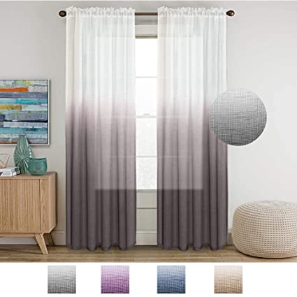 grey linen curtains pinch pleat turquoize grey linen curtains 96 inches long natural casual open weave sheer curtans rod pocket window amazoncom