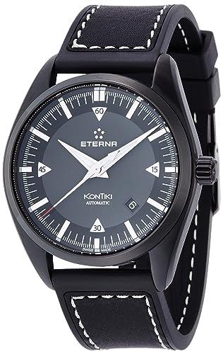 Eterna Kontiki FECHA reloj automático, SW 200 - 1, color negro, correa de cuero: Amazon.es: Relojes