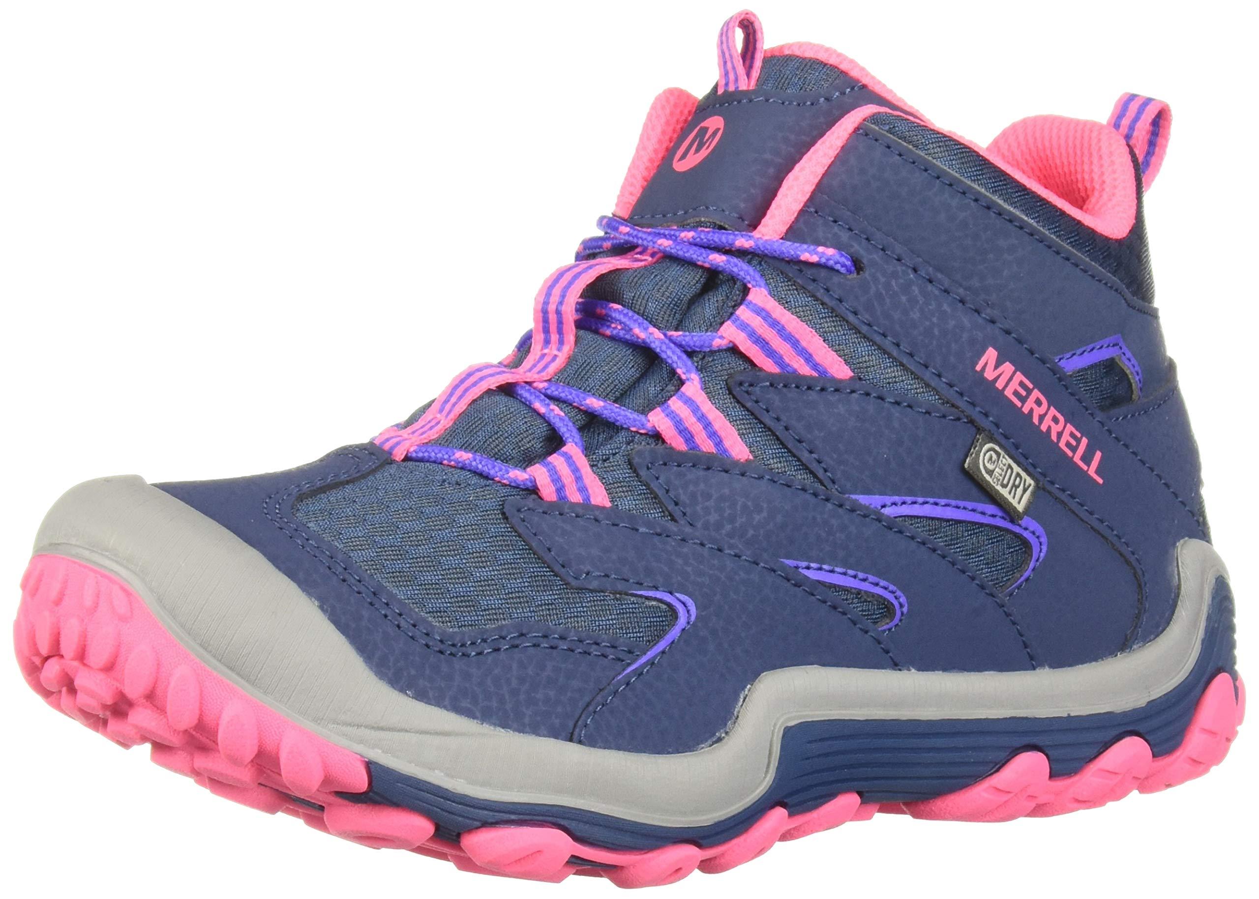 Merrell Girls' Chameleon 7 Mid WTRPF Hiking Shoe Navy/Coral 1 Medium US Little Kid