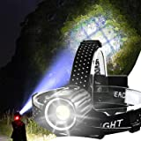 Rechargeable Headlamp, 10000 Lumens LED Headlamps for Adults, Hunting Headlamp Flashlight with Batteries Included, Zoomable,