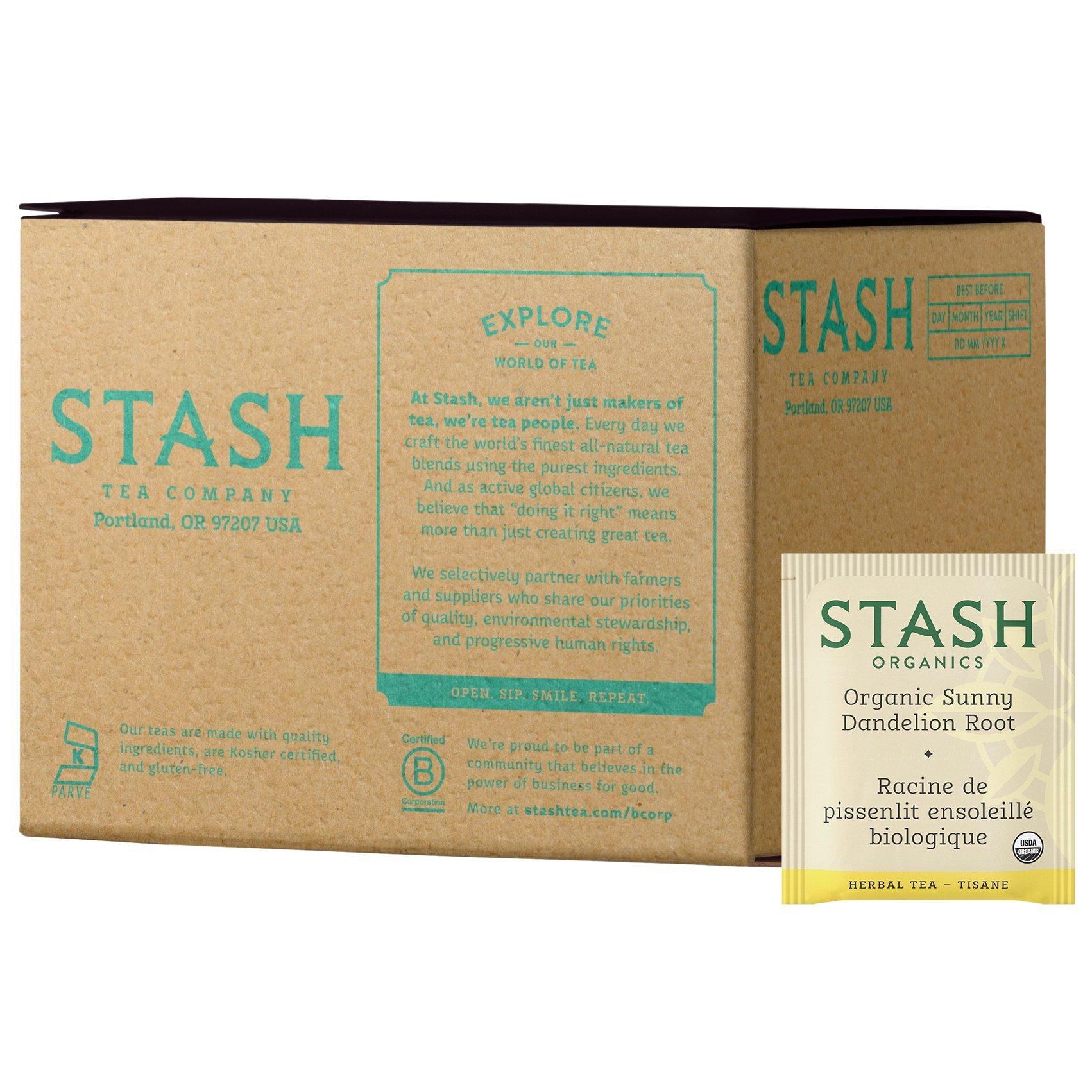 Stash Tea Organic Sunny Dandelion Root 100 Count Tea Bags (packaging may vary) Individual Herbal Tea Bags for Use in Teapots Mugs or Cups, Brew Hot Tea or Iced Tea