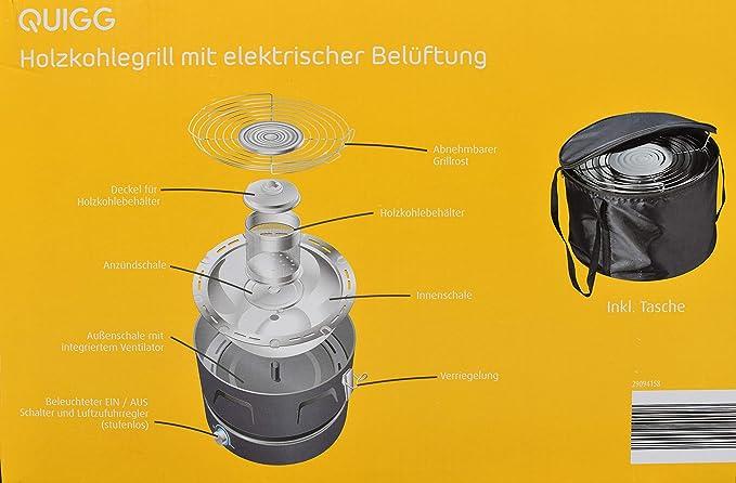 Aobosi Rauchfreier Holzkohlegrill : Quigg holzkohlegrill mit elektrischer belüftung kompaktgrill