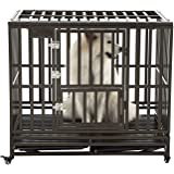 SMONTER Heavy Duty Dog Crate Strong Metal Pet Kennel Playpen with Two Prevent Escape Lock, Large Dogs Cage with Wheels, Black Silver …