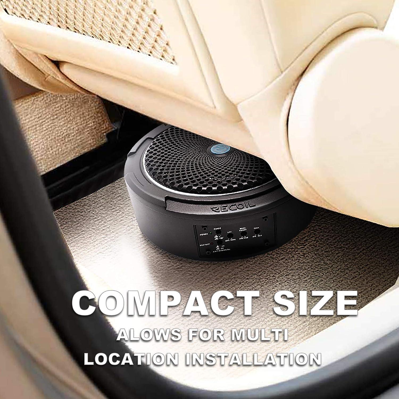 Recoil SL1708 400 Watt 8 Under-Seat Slim Amplified Car Subwoofer+Wire Kit