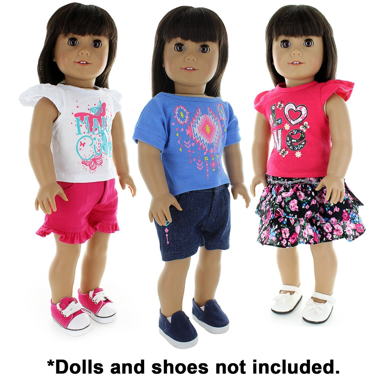 1a7e1ba1120e Amazon.com: Pink Butterfly Closet Doll Clothes - 6 Pieces Mix and Match  Clothes Outfit Fits American Girl Doll, My Life Doll and Other 18 inch Dolls:  Toys & ...