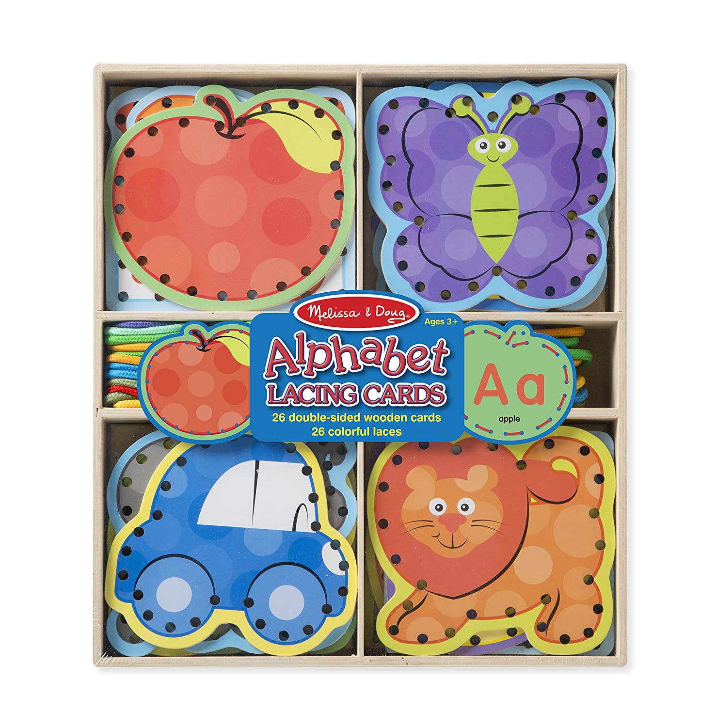 Amazon.com: Melissa & Doug Alphabet Wooden Lacing Cards With Double ...
