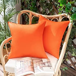 Woaboy Pack of 2 Outdoor Waterproof Throw Pillow Covers Decorative Farmhouse Lumbar Square Solid Cushion Cases for Patio Garden Porch Sofa Orange 18x18 inch