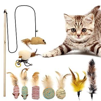 Juguetes interactivos para gato Ulable, juguete de plumas para gato de sisal, juguetes para gato para mascotas pequeñas, grandes y variables (9 unidades): ...