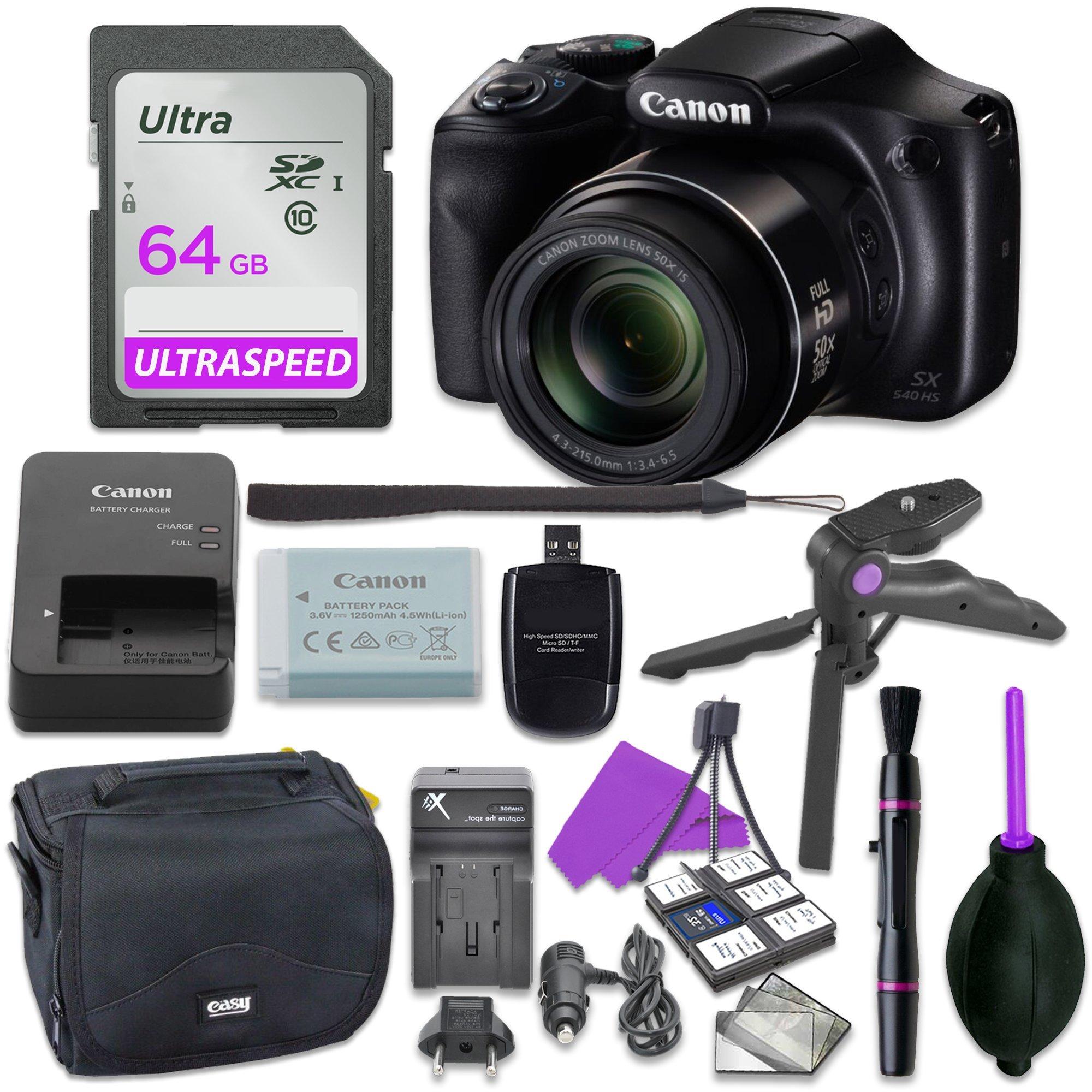 Canon Powershot SX540 Point & Shoot Digital Camera Bundle w/ Tripod Hand Grip , 64GB SD Memory , Case and More