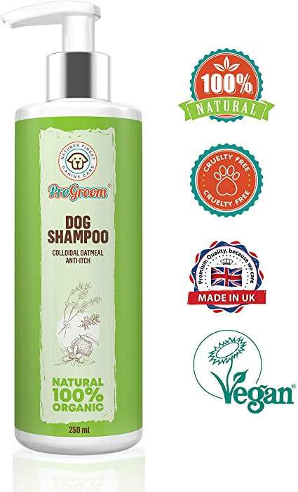 ProGroom Champú para perros con Harina de Avena Natural - El champú tratamiento anti pulgas con una fórmula para el alivio de la picazón en la piel ...