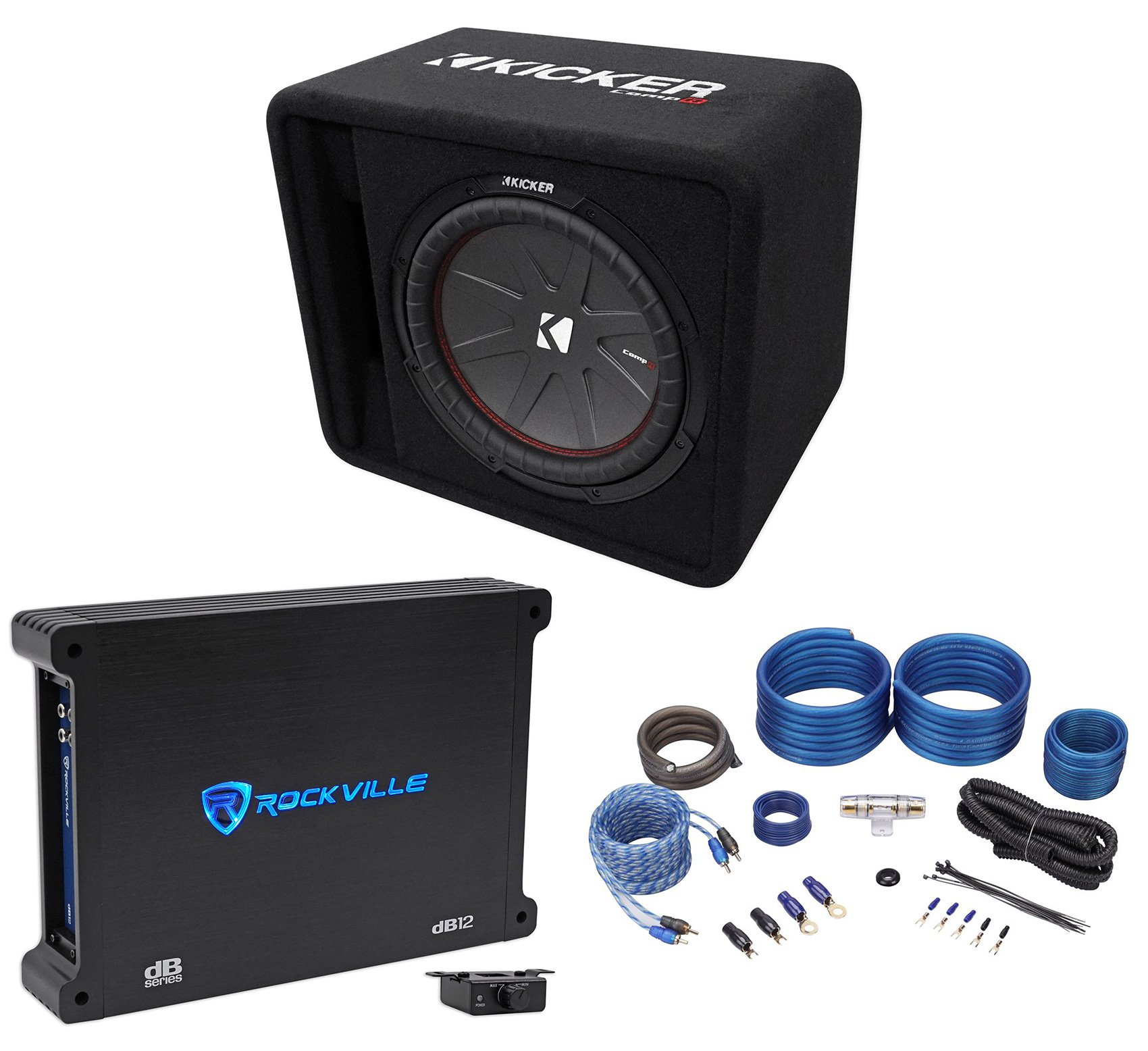 Kicker 43VCWR122 COMP12 12'' 1000W Car Subwoofer+Mono Amplifier+Vented Sub Box