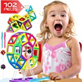 Lazy Monk Magnetic Blocks Tiles for Kids - 102 Pcs Magnet Building Tile for Toddlers - 3D Educational Toys