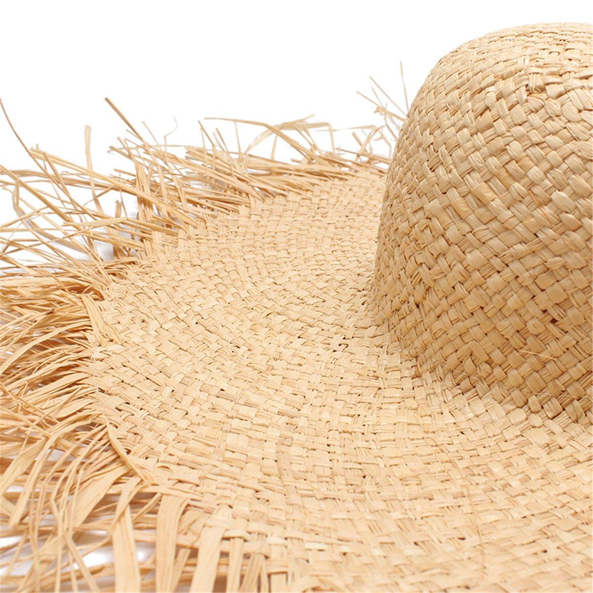 79f24678f4d49 Women Summer Sun Hat with A Large Brim Ladies Raffia Straw Hat Fringe Big  Beach Hats for Holiday  Amazon.co.uk  Clothing